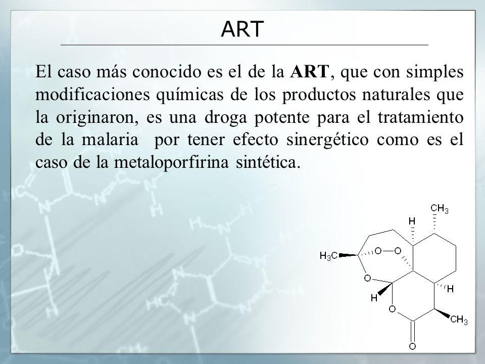 ART El caso más conocido es el de la ART, que con simples modificaciones químicas de los productos naturales que la originaron, es una droga potente p