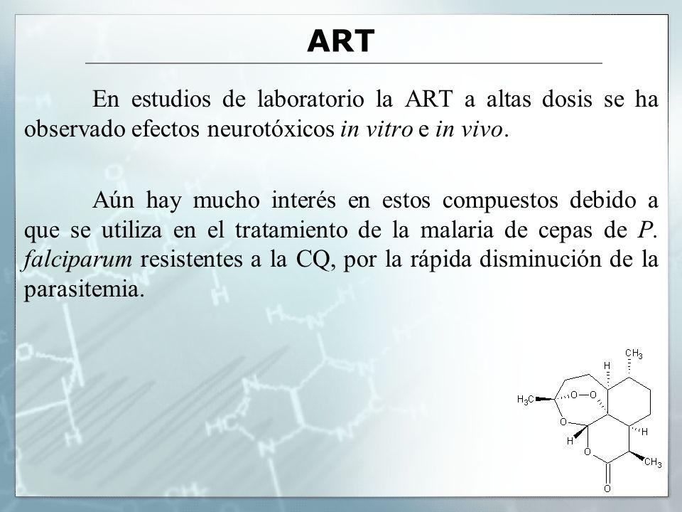 ART En estudios de laboratorio la ART a altas dosis se ha observado efectos neurotóxicos in vitro e in vivo. Aún hay mucho interés en estos compuestos