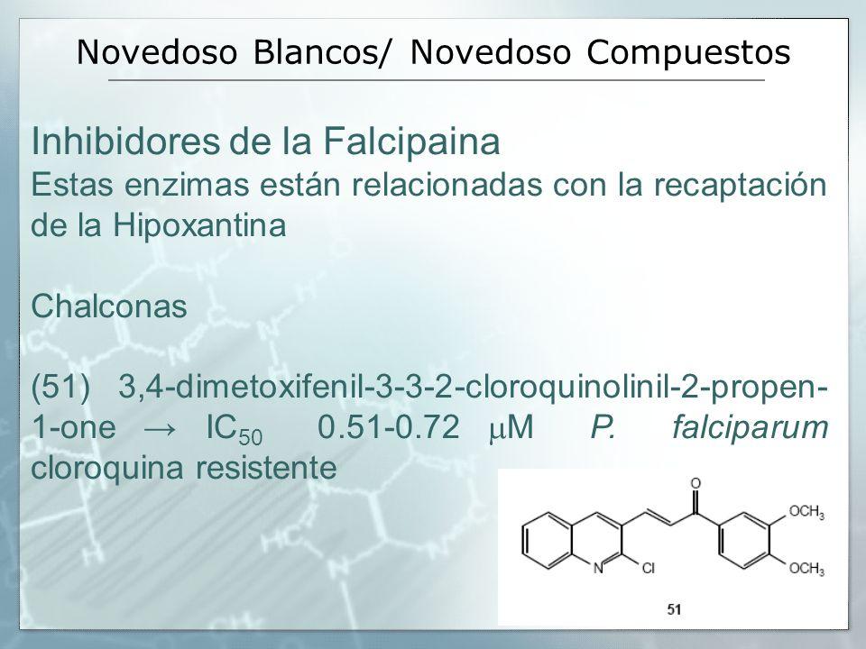 Novedoso Blancos/ Novedoso Compuestos Inhibidores de la Falcipaina Estas enzimas están relacionadas con la recaptación de la Hipoxantina Chalconas (51