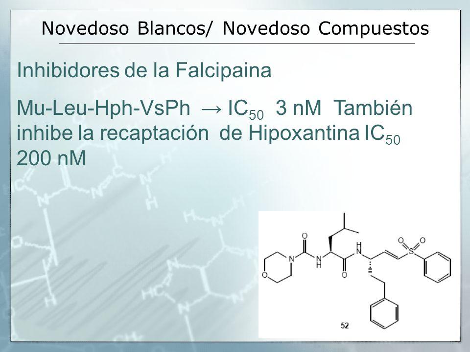 Novedoso Blancos/ Novedoso Compuestos Inhibidores de la Falcipaina Mu-Leu-Hph-VsPh IC 50 3 nM También inhibe la recaptación de Hipoxantina IC 50 200 n