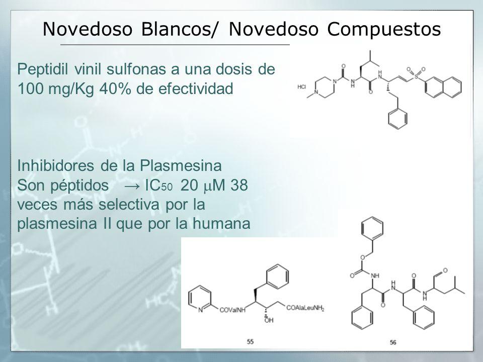 Novedoso Blancos/ Novedoso Compuestos Peptidil vinil sulfonas a una dosis de 100 mg/Kg 40% de efectividad Inhibidores de la Plasmesina Son péptidos IC