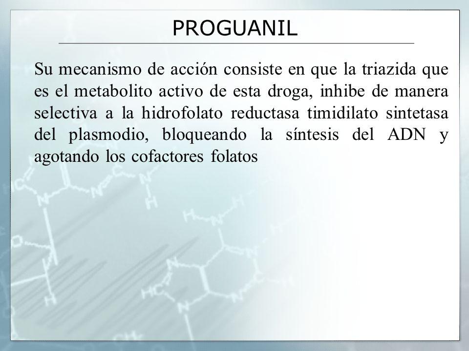 PROGUANIL Su mecanismo de acción consiste en que la triazida que es el metabolito activo de esta droga, inhibe de manera selectiva a la hidrofolato re