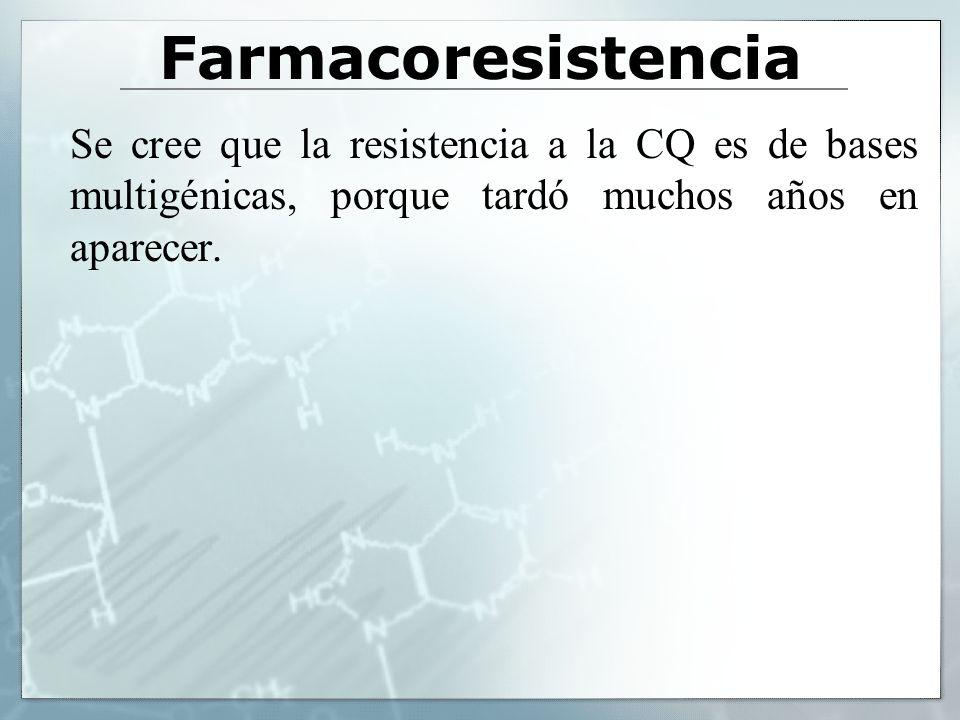 Farmacoresistencia Se cree que la resistencia a la CQ es de bases multigénicas, porque tardó muchos años en aparecer.