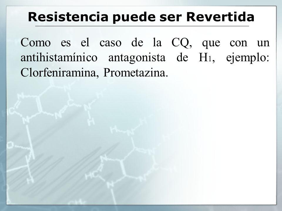 Resistencia puede ser Revertida Como es el caso de la CQ, que con un antihistamínico antagonista de H 1, ejemplo: Clorfeniramina, Prometazina.