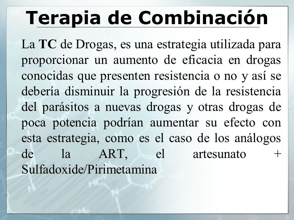 Terapia de Combinación La TC de Drogas, es una estrategia utilizada para proporcionar un aumento de eficacia en drogas conocidas que presenten resiste
