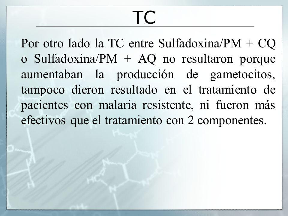 TC Por otro lado la TC entre Sulfadoxina/PM + CQ o Sulfadoxina/PM + AQ no resultaron porque aumentaban la producción de gametocitos, tampoco dieron re