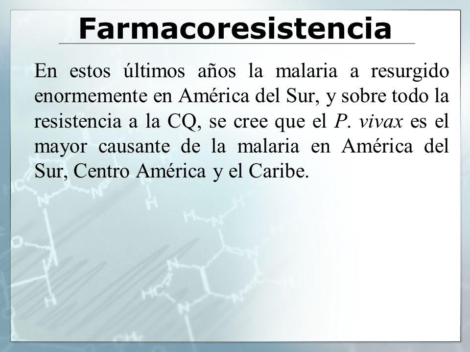 Farmacoresistencia En estos últimos años la malaria a resurgido enormemente en América del Sur, y sobre todo la resistencia a la CQ, se cree que el P.