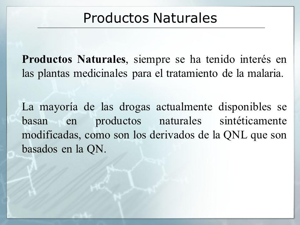 Productos Naturales Productos Naturales, siempre se ha tenido interés en las plantas medicinales para el tratamiento de la malaria. La mayoría de las