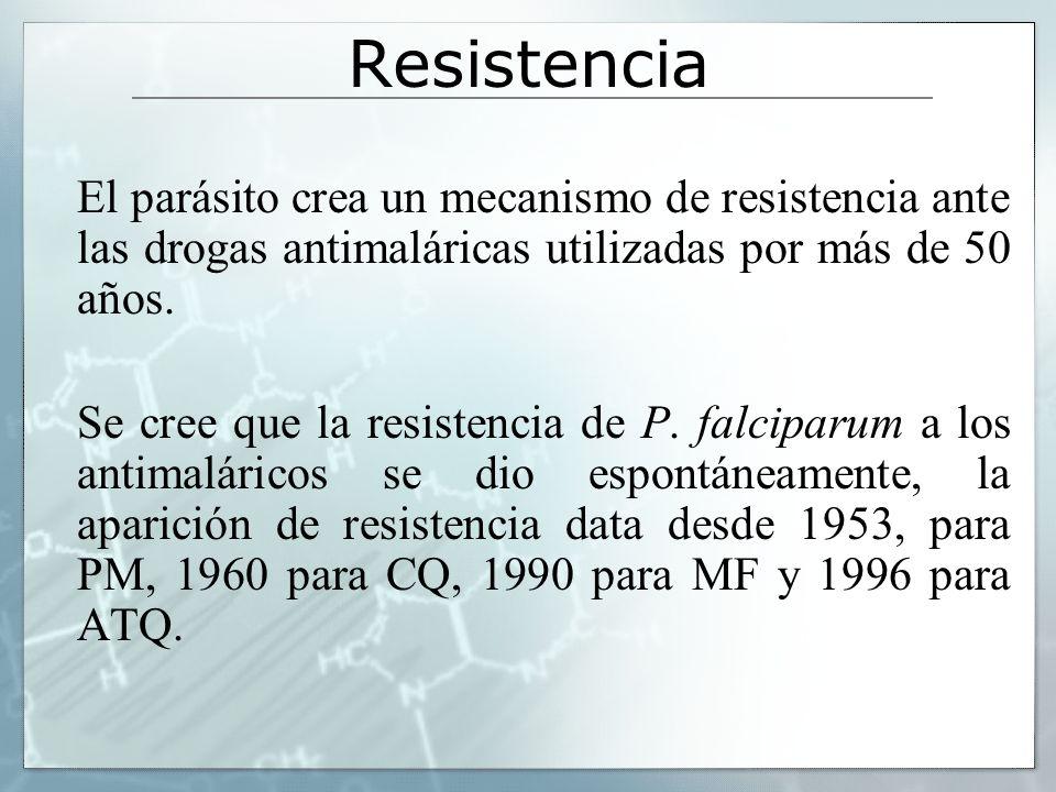 Resistencia El parásito crea un mecanismo de resistencia ante las drogas antimaláricas utilizadas por más de 50 años. Se cree que la resistencia de P.
