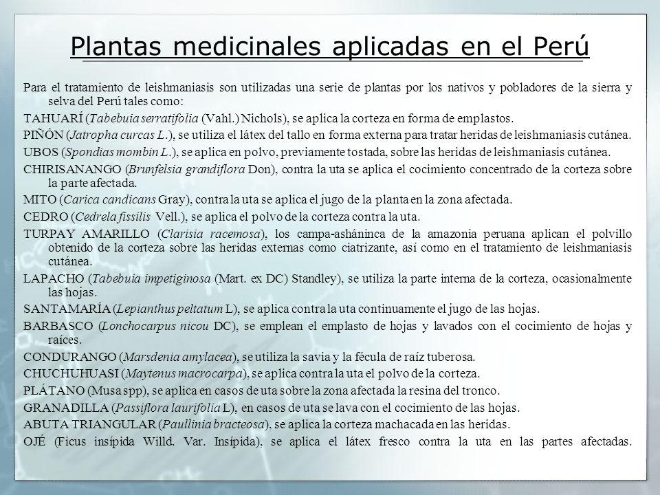 Plantas medicinales aplicadas en el Perú Para el tratamiento de leishmaniasis son utilizadas una serie de plantas por los nativos y pobladores de la s
