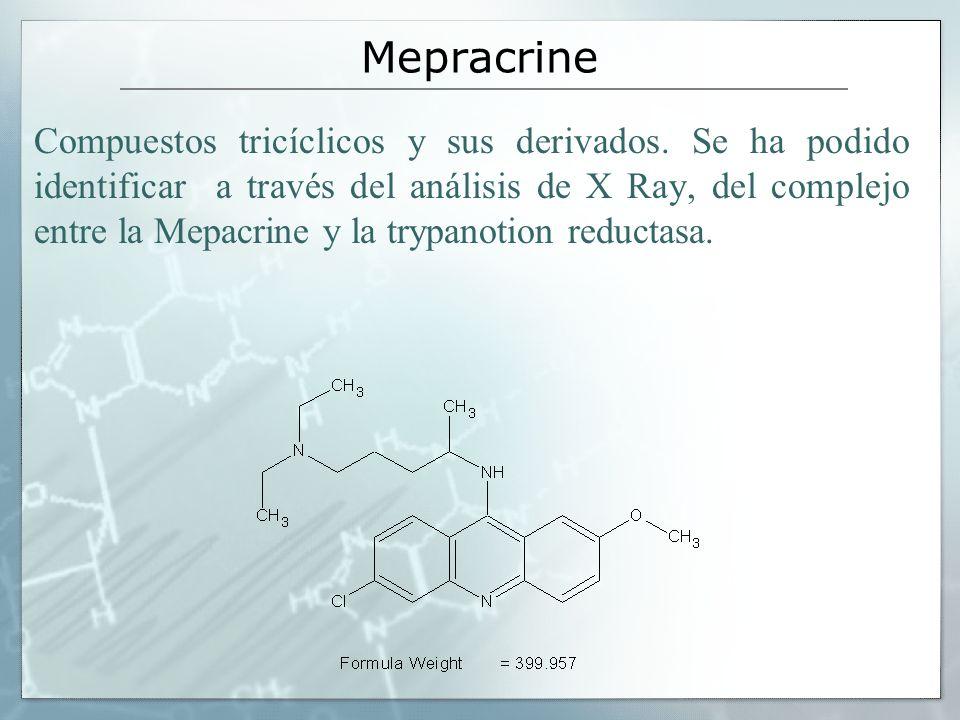 Mepracrine Compuestos tricíclicos y sus derivados. Se ha podido identificar a través del análisis de X Ray, del complejo entre la Mepacrine y la trypa