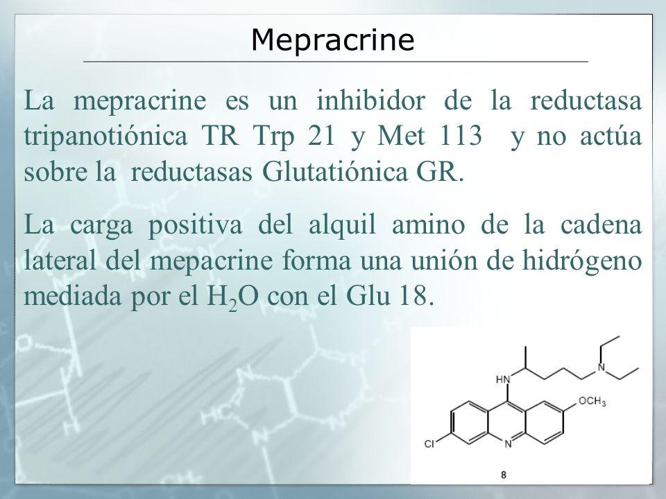 La mepracrine es un inhibidor de la reductasa tripanotiónica TR Trp 21 y Met 113 y no actúa sobre la reductasas Glutatiónica GR. La carga positiva del