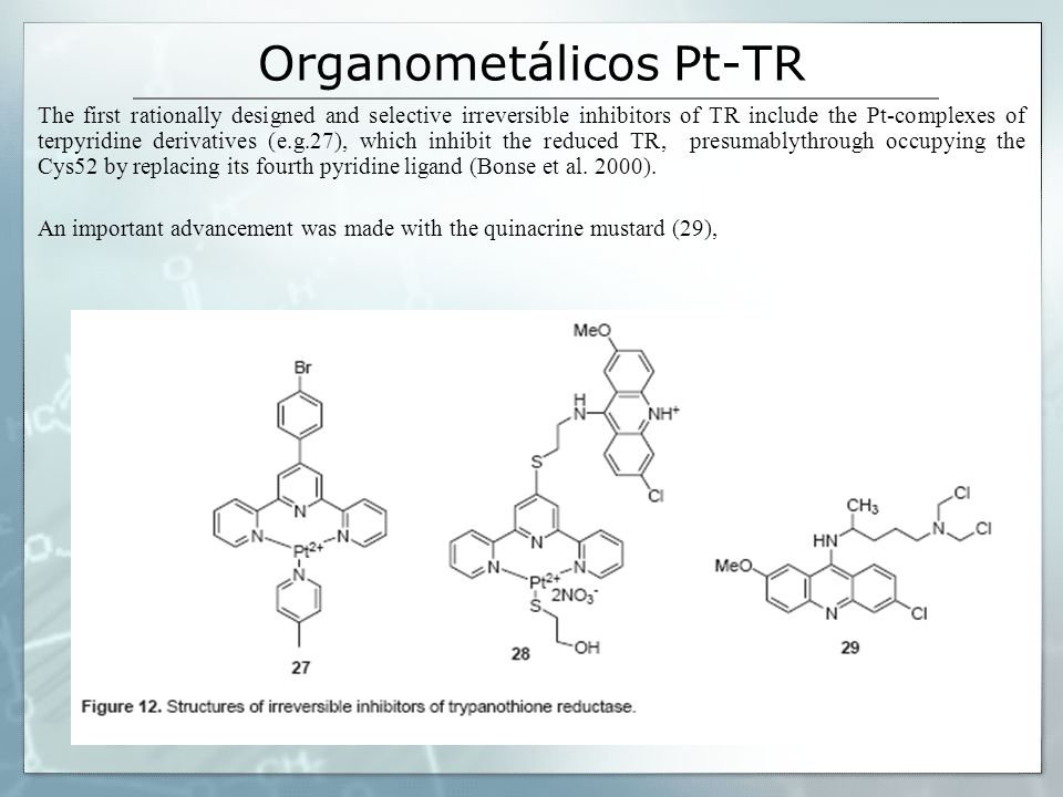 Organometálicos Pt-TR The first rationally designed and selective irreversible inhibitors of TR include the Pt-complexes of terpyridine derivatives (e