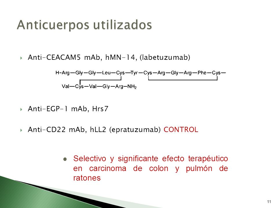 Anti-CEACAM5 mAb, hMN-14, (labetuzumab) Anti-EGP-1 mAb, Hrs7 Anti-CD22 mAb, hLL2 (epratuzumab) CONTROL 11 Selectivo y significante efecto terapéutico