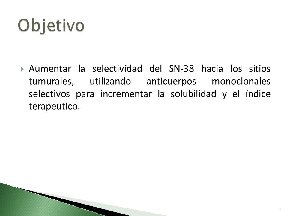 Aumentar la selectividad del SN-38 hacia los sitios tumurales, utilizando anticuerpos monoclonales selectivos para incrementar la solubilidad y el índ