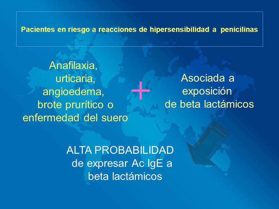 Pacientes en riesgo a reacciones de hipersensibilidad a penicilinas ALTA PROBABILIDAD de expresar Ac IgE a beta lactámicos Anafilaxia, urticaria, angi