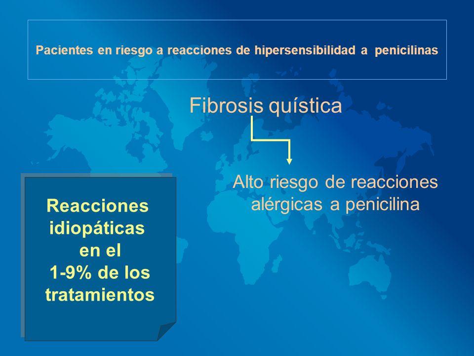 Pacientes en riesgo a reacciones de hipersensibilidad a penicilinas Fibrosis quística Alto riesgo de reacciones alérgicas a penicilina Reacciones idio