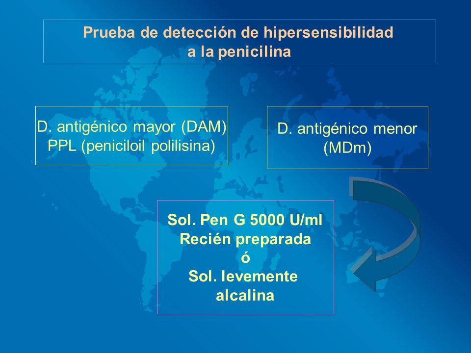 Prueba de detección de hipersensibilidad a la penicilina D. antigénico mayor (DAM) PPL (peniciloil polilisina) D. antigénico menor (MDm) Sol. Pen G 50