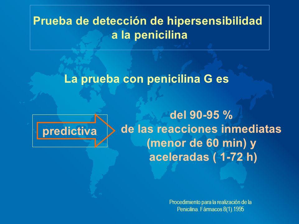 La prueba con penicilina G es Prueba de detección de hipersensibilidad a la penicilina predictiva del 90-95 % de las reacciones inmediatas (menor de 6
