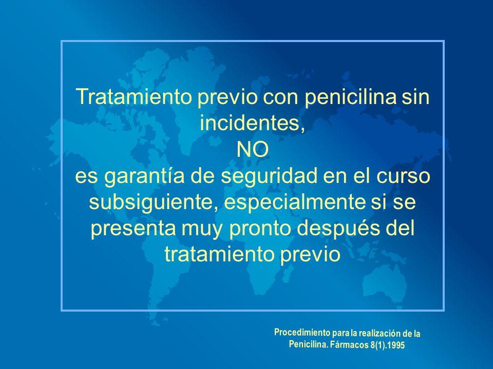 Tratamiento previo con penicilina sin incidentes, NO es garantía de seguridad en el curso subsiguiente, especialmente si se presenta muy pronto despué
