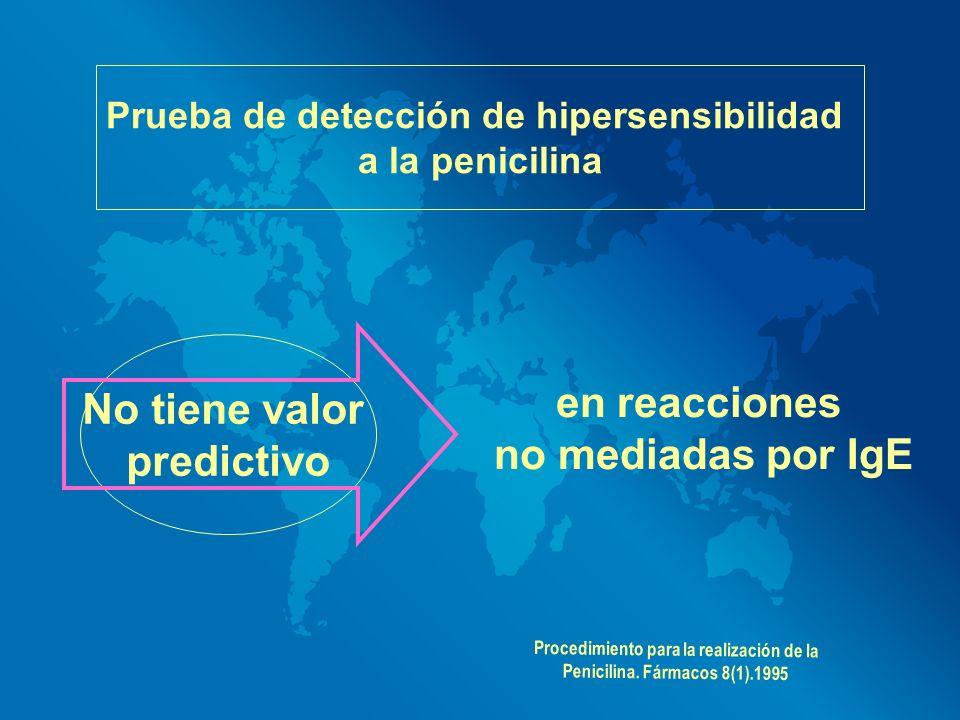 en reacciones no mediadas por IgE Prueba de detección de hipersensibilidad a la penicilina No tiene valor predictivo Procedimiento para la realización