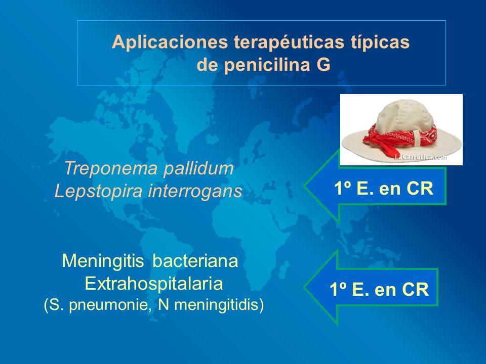 Aplicaciones terapéuticas típicas de penicilina G Treponema pallidum Lepstopira interrogans Meningitis bacteriana Extrahospitalaria (S. pneumonie, N m