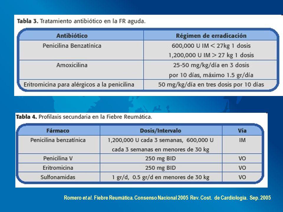 Romero et al. Fiebre Reumática. Consenso Nacional 2005 Rev. Cost. de Cardiología. Sep. 2005