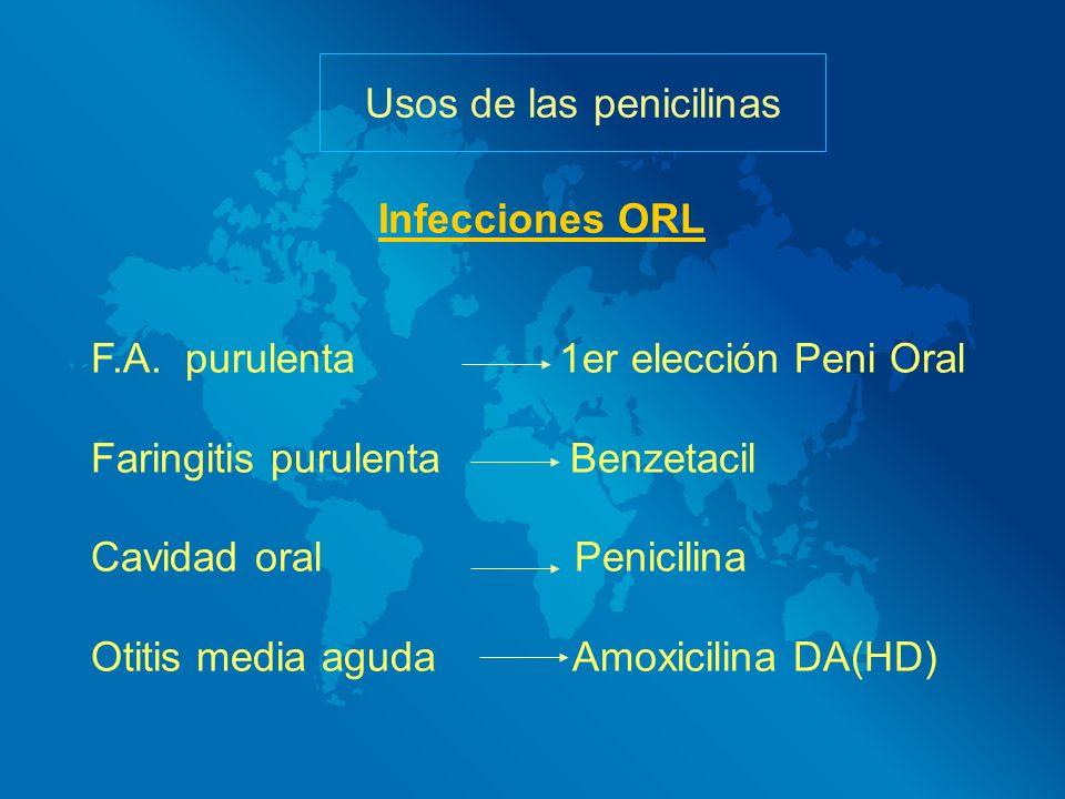 Usos de las penicilinas F.A. purulenta 1er elección Peni Oral Faringitis purulenta Benzetacil Cavidad oral Penicilina Otitis media aguda Amoxicilina D