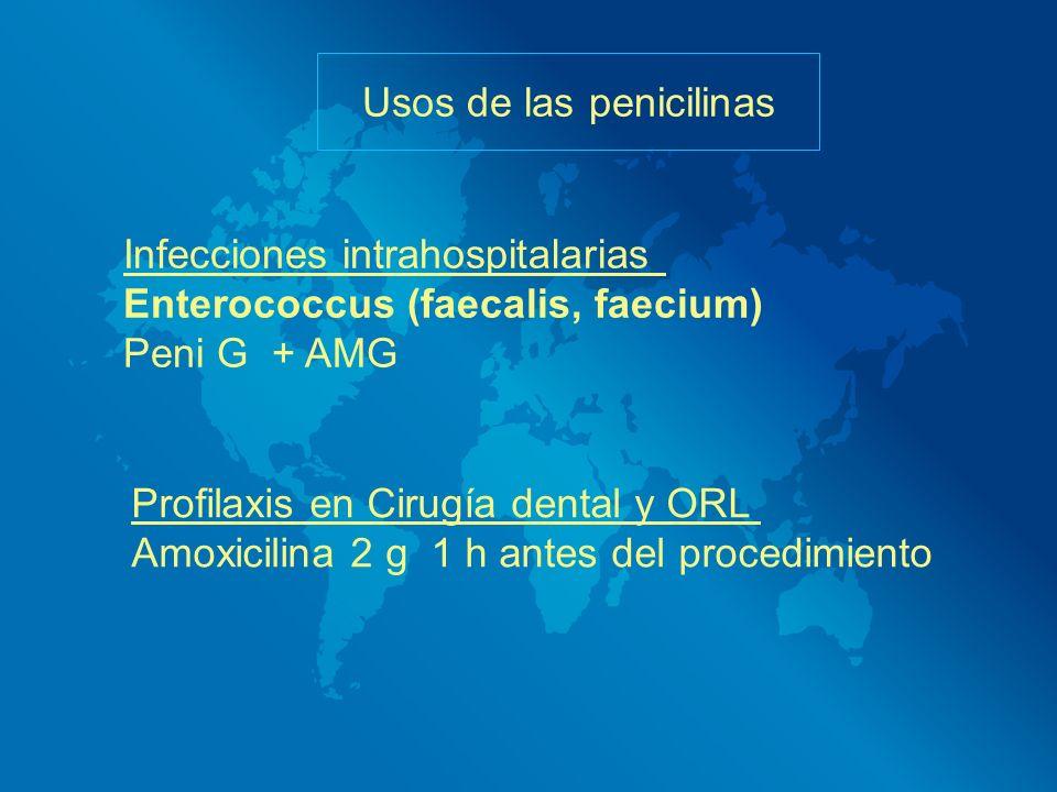 Infecciones intrahospitalarias Enterococcus (faecalis, faecium) Peni G + AMG Usos de las penicilinas Profilaxis en Cirugía dental y ORL Amoxicilina 2
