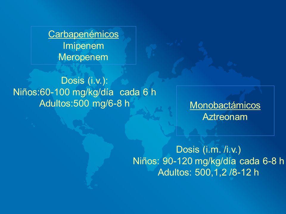 Carbapenémicos Imipenem Meropenem Dosis (i.v.): Niños:60-100 mg/kg/día cada 6 h Adultos:500 mg/6-8 h Monobactámicos Aztreonam Dosis (i.m. /i.v.) Niños