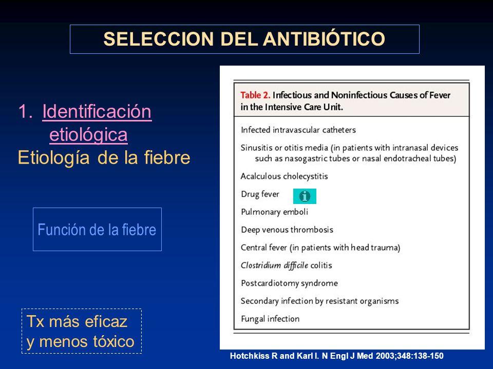 1.Identificación etiológica Etiología de la fiebre SELECCION DEL ANTIBIÓTICO Tx más eficaz y menos tóxico Hotchkiss R and Karl I. N Engl J Med 2003;34