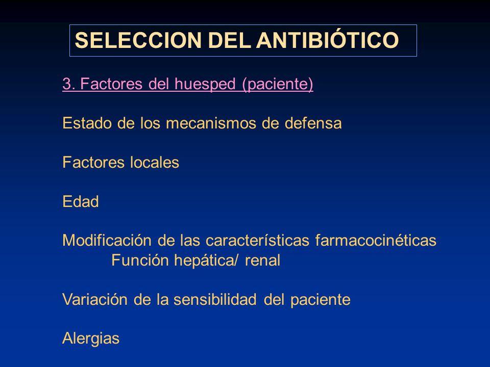 3. Factores del huesped (paciente) Estado de los mecanismos de defensa Factores locales Edad Modificación de las características farmacocinéticas Func