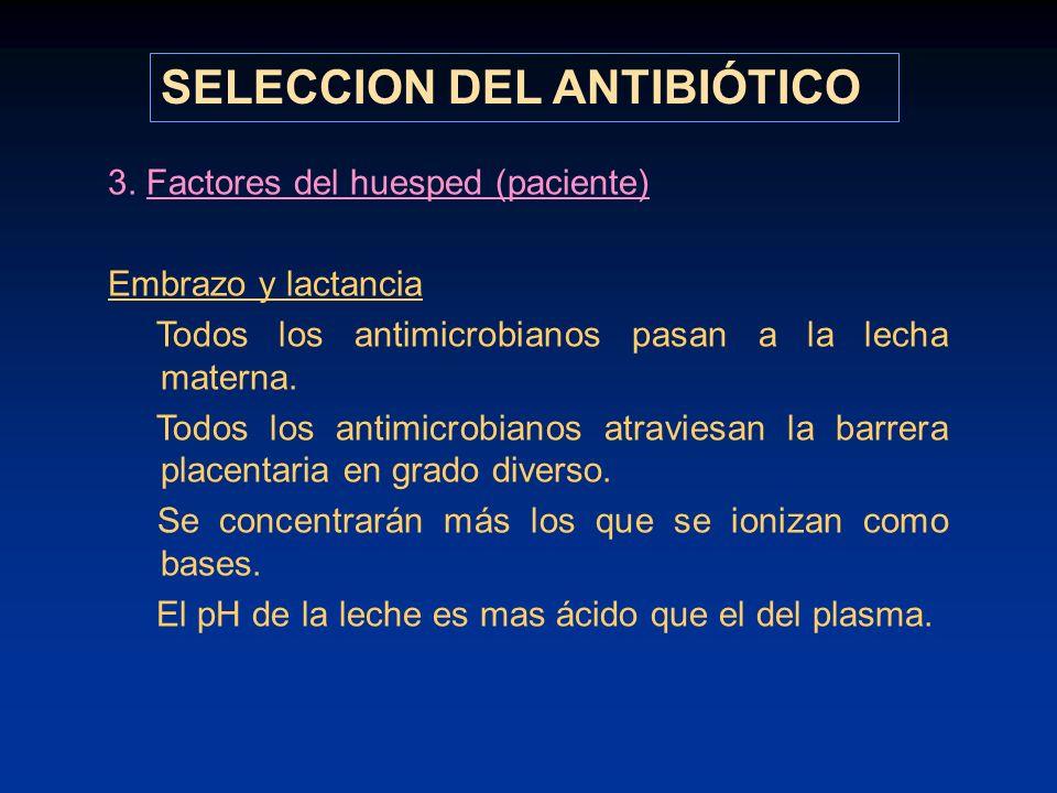 3. Factores del huesped (paciente) Embrazo y lactancia Todos los antimicrobianos pasan a la lecha materna. Todos los antimicrobianos atraviesan la bar