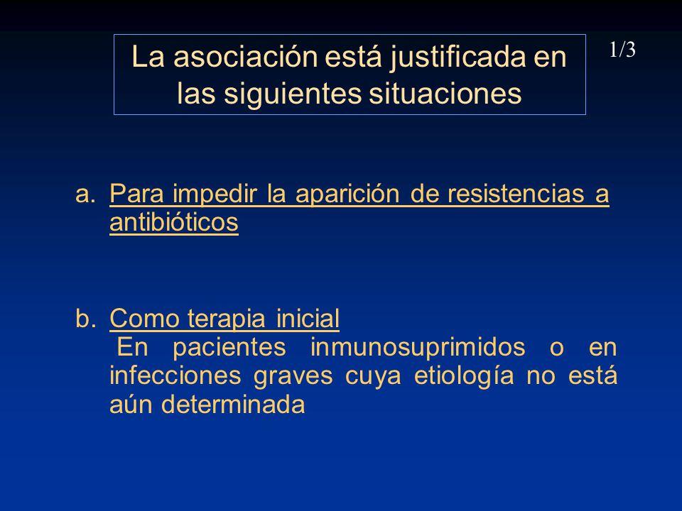 La asociación está justificada en las siguientes situaciones a.Para impedir la aparición de resistencias a antibióticos b.Como terapia inicial En paci