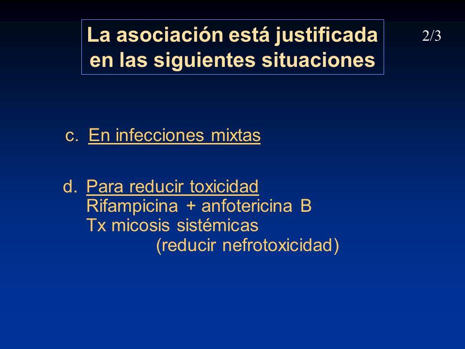 d.Para reducir toxicidad Rifampicina + anfotericina B Tx micosis sistémicas (reducir nefrotoxicidad) La asociación está justificada en las siguientes