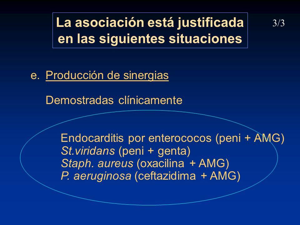 e.Producción de sinergias Demostradas clínicamente Endocarditis por enterococos (peni + AMG) St.viridans (peni + genta) Staph. aureus (oxacilina + AMG