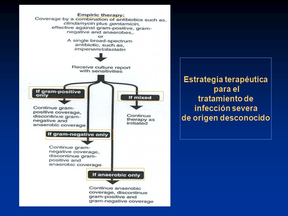 Estrategia terapéutica para el tratamiento de infección severa de origen desconocido