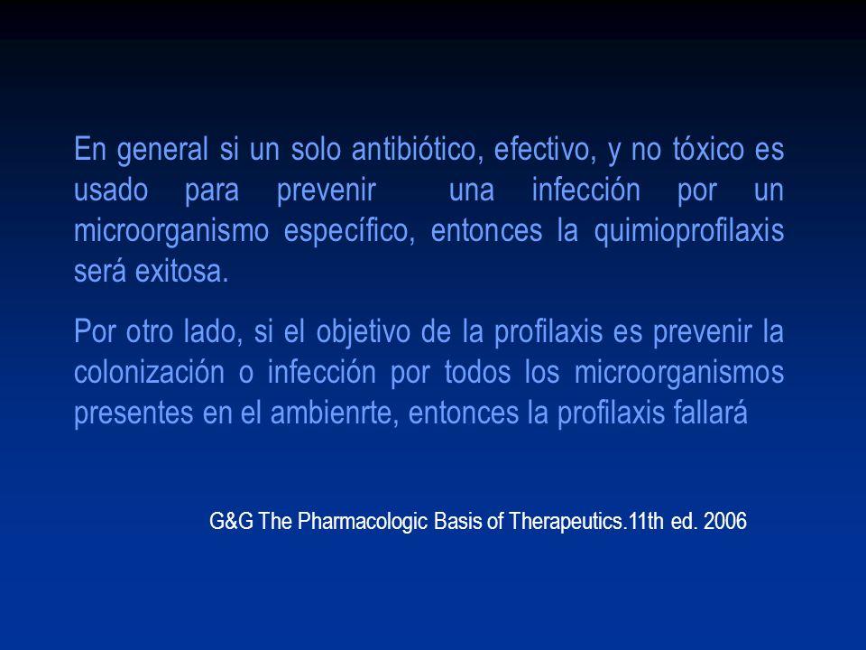 En general si un solo antibiótico, efectivo, y no tóxico es usado para prevenir una infección por un microorganismo específico, entonces la quimioprof