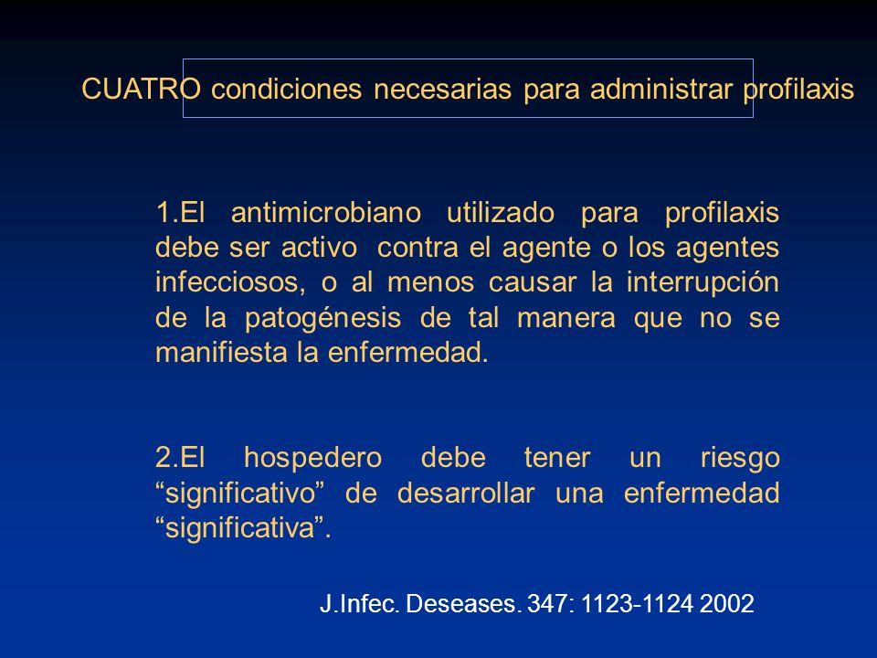 1.El antimicrobiano utilizado para profilaxis debe ser activo contra el agente o los agentes infecciosos, o al menos causar la interrupción de la pato