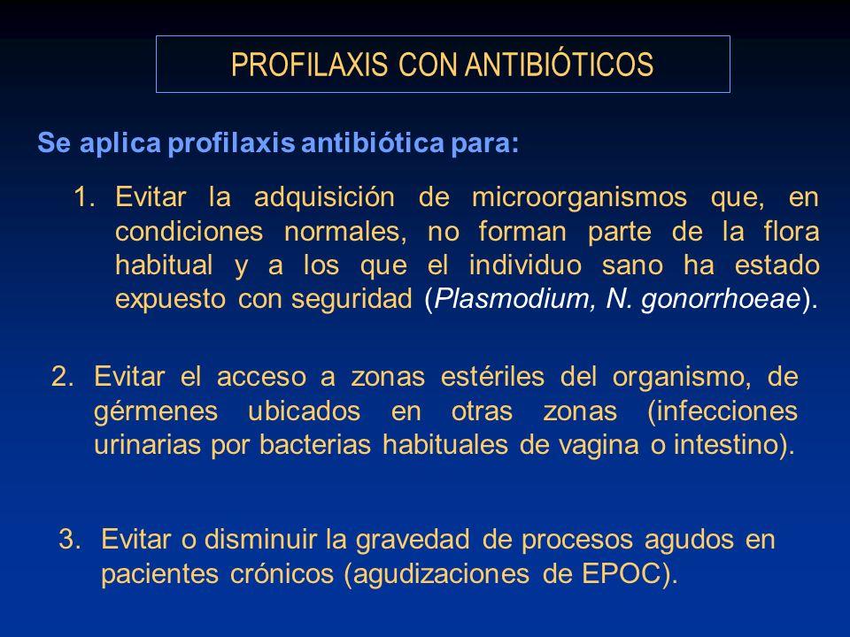 PROFILAXIS CON ANTIBIÓTICOS Se aplica profilaxis antibiótica para: 1.Evitar la adquisición de microorganismos que, en condiciones normales, no forman