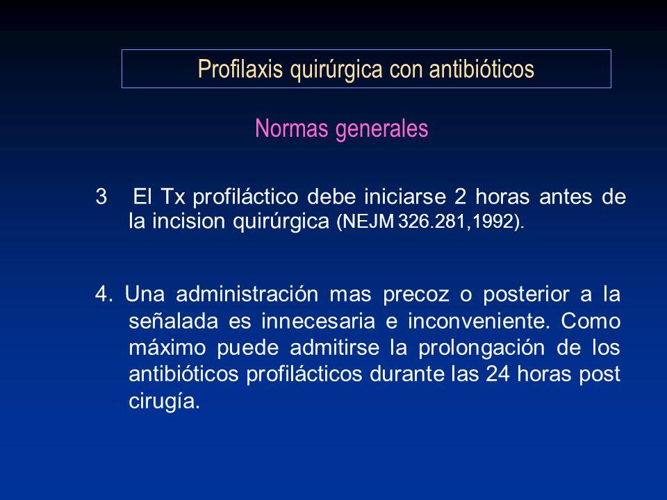 Normas generales 3 El Tx profiláctico debe iniciarse 2 horas antes de la incision quirúrgica (NEJM 326.281,1992). 4. Una administración mas precoz o p
