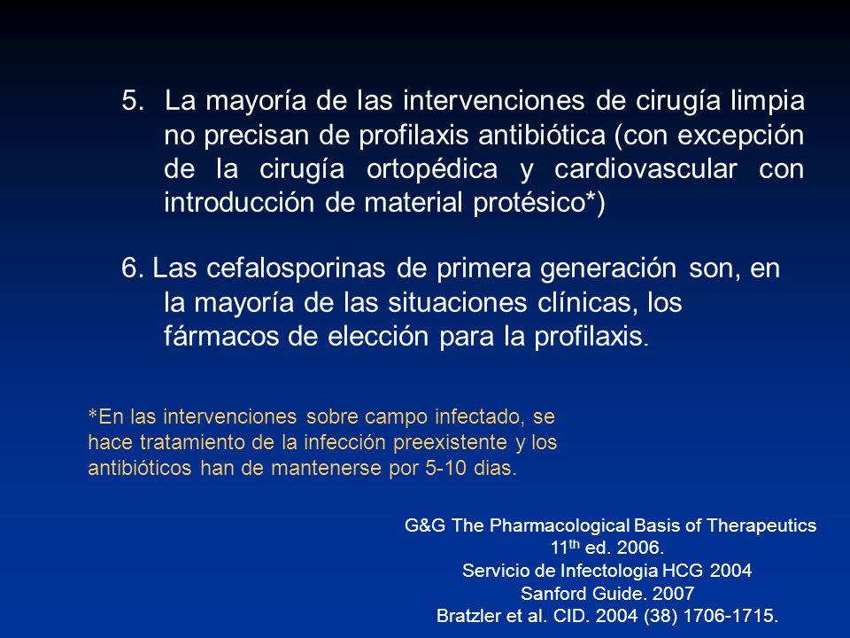5. La mayoría de las intervenciones de cirugía limpia no precisan de profilaxis antibiótica (con excepción de la cirugía ortopédica y cardiovascular c