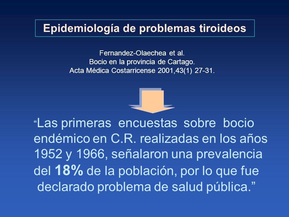 Epidemiología de problemas tiroideos Las primeras encuestas sobre bocio endémico en C.R. realizadas en los años 1952 y 1966, señalaron una prevalencia