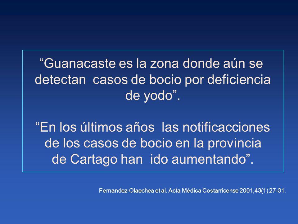 En 1995, se observó que el 24,1% de Guanacaste y el 22,5 % de Cartago presentaban yodurias bajas.