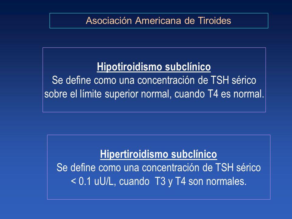 Asociación Americana de Tiroides Hipotiroidismo subclínico Se define como una concentración de TSH sérico sobre el límite superior normal, cuando T4 e