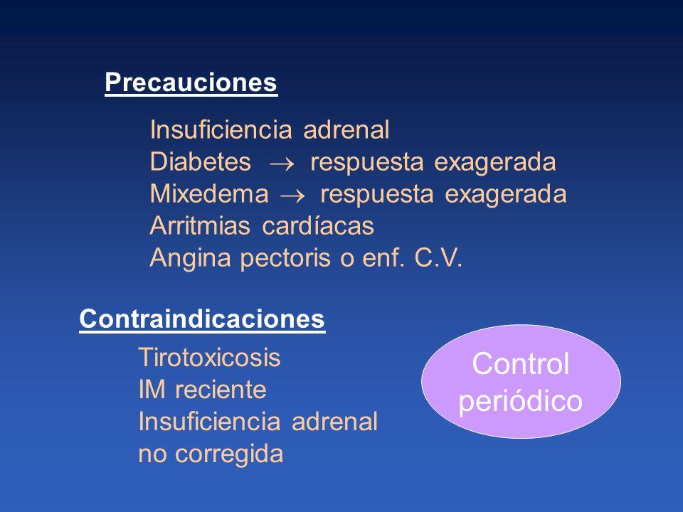 Control periódico Tirotoxicosis IM reciente Insuficiencia adrenal no corregida Insuficiencia adrenal Diabetes respuesta exagerada Mixedema respuesta e
