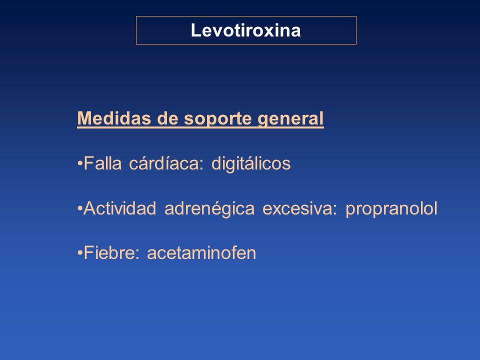 Medidas de soporte general Falla cárdíaca: digitálicos Actividad adrenégica excesiva: propranolol Fiebre: acetaminofen