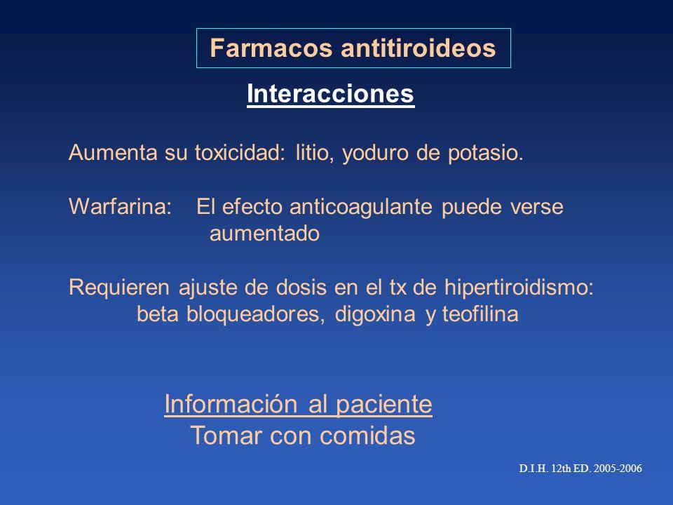 Farmacos antitiroideos Aumenta su toxicidad: litio, yoduro de potasio. Warfarina: El efecto anticoagulante puede verse aumentado Requieren ajuste de d