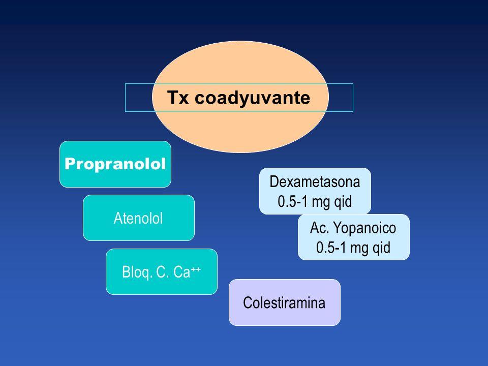 Tx coadyuvante Propranolol Atenolol Bloq. C. Ca ++ Dexametasona 0.5-1 mg qid Ac. Yopanoico 0.5-1 mg qid Colestiramina