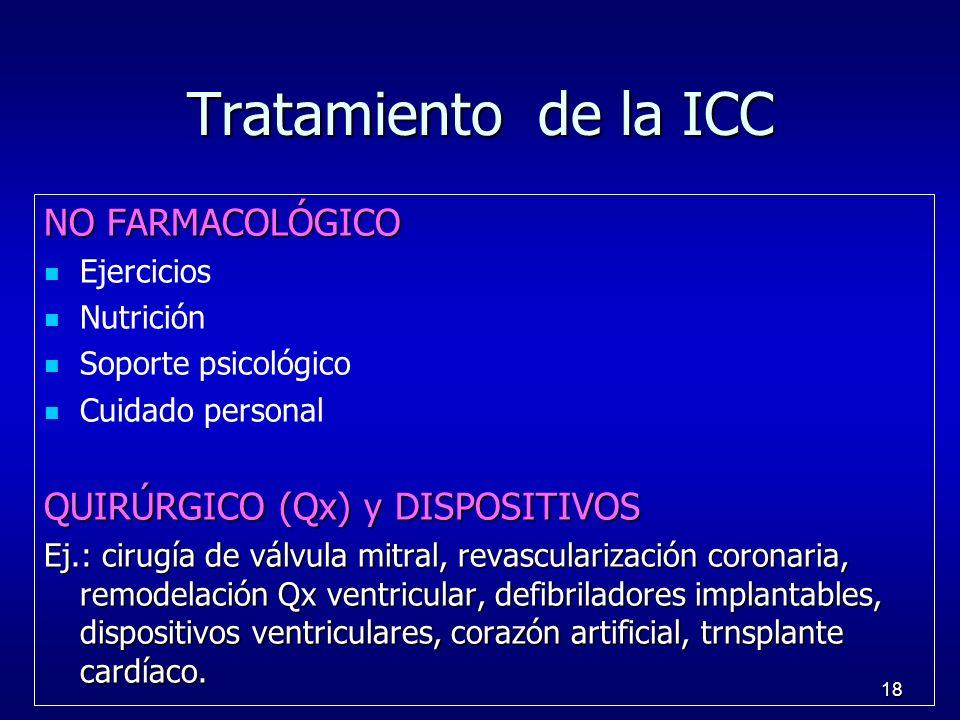18 Tratamiento de la ICC NO FARMACOLÓGICO Ejercicios Nutrición Soporte psicológico Cuidado personal QUIRÚRGICO (Qx) y DISPOSITIVOS Ej.: cirugía de vál